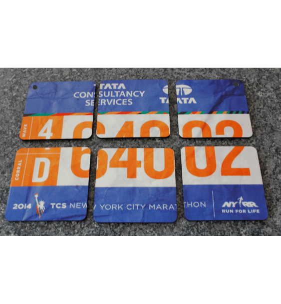 Race number coasters