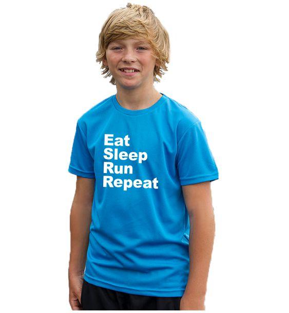 Kids running t-shirts eat sleep run repeat