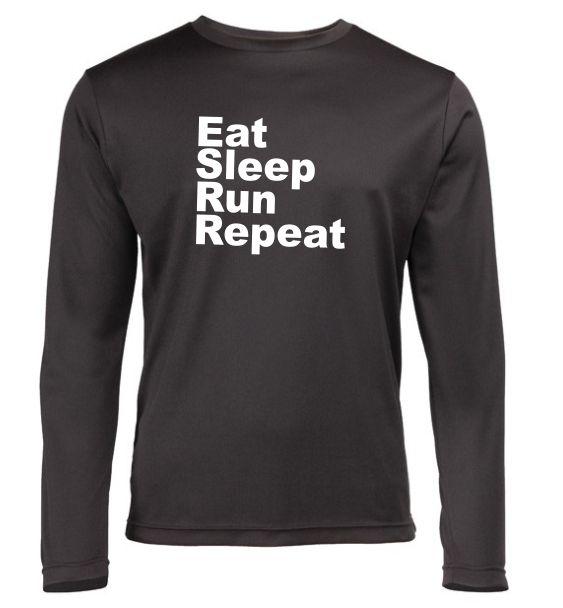 Mens long sleeve Running top eat sleep run repeat