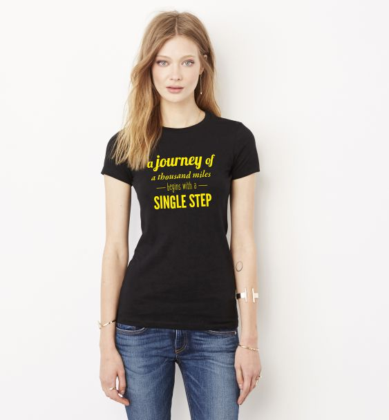 A journey of a thousand steps t-shirt