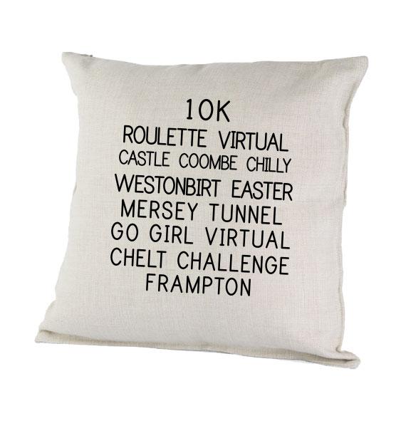 Custom running events cushions