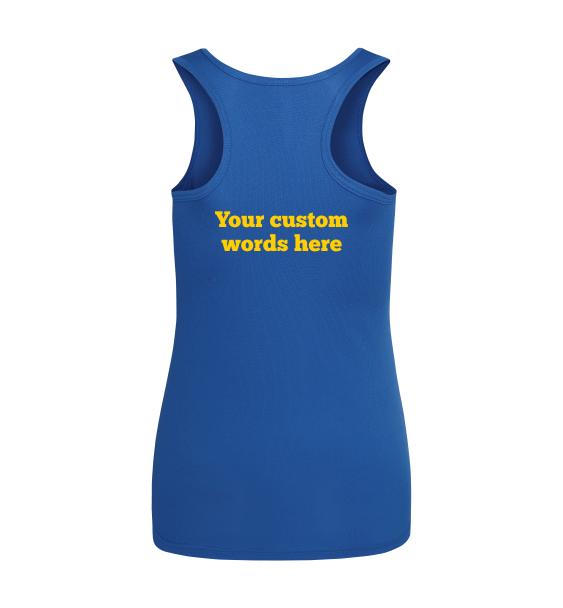 custom text running vest
